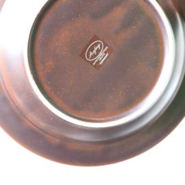 set vintage diepen borden jaren 70 bruin