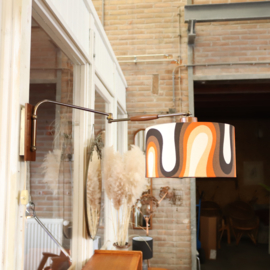 Vintage wandlamp knik retro kap hout