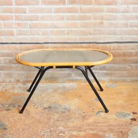 Vintage rotan tafel ovaal