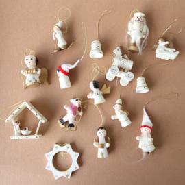 vintage houten ornamenten kerst