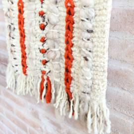 Vintage 70s wandkleed wit oranje