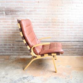 Scandinavische fauteuil leer hout