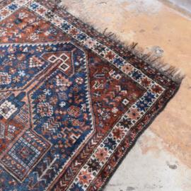 Vintage Perzisch tapijt bruin blauw