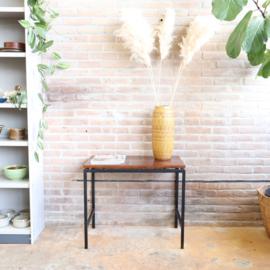 Side table metaal zwart hout vintage