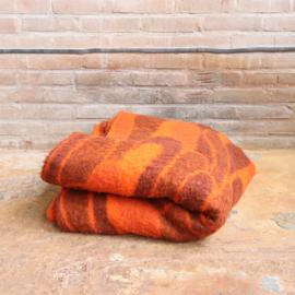 Vintage wollen deken oranje patroon groot