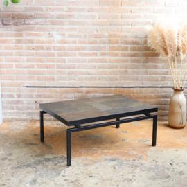 Vintage salontafel natuursteen metaal