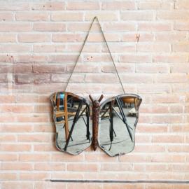 Vintage vlinder spiegel hout