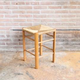 Vintage kruk riet hout
