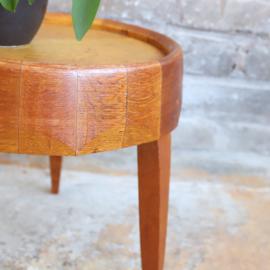 Vintage bijzettafel hout rond