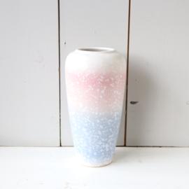 Vintage vaas w-germany roze blauw wit