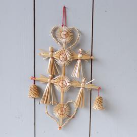 Kerst stro ornament hart