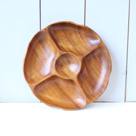Vintage teak hout hapjes schaal