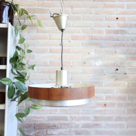 Vintage hanglamp glas hout metaal