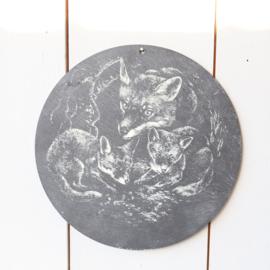 vintage wandplaat vossen steen