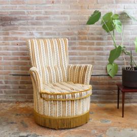 Vintage velvet fauteuil oker geel