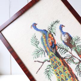 Vintage lijst borduurwerk pauwen
