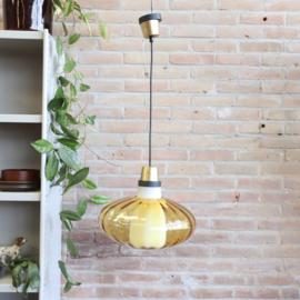 Vintage hanglamp glas messing zwart