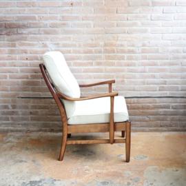Vintage fauteuil deens hout wit