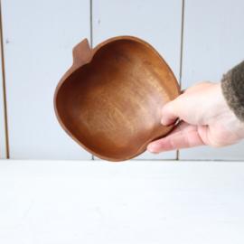Vintage houten teak schaal appel