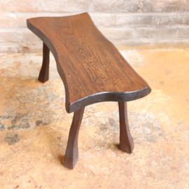 Vintage brutalist bijzettafel hout