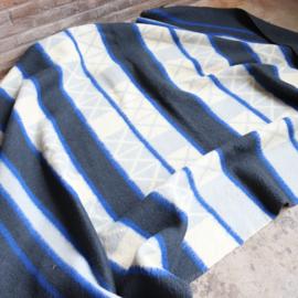Vintage wollen deken blauw  Aabe