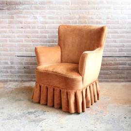 Vintage fauteuil velvet oranje