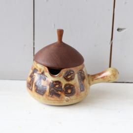 Vintage strooppot keramiek teak