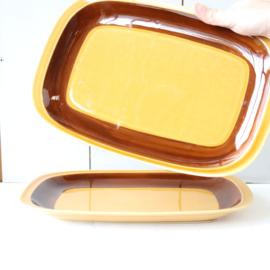 Vintage serveer borden oker geel