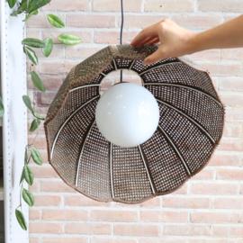 Vintage webbing / glas hanglamp