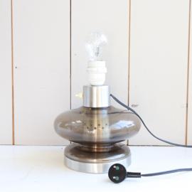 Vintage lampenvoet rook glas
