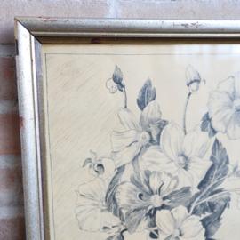 Vintage pen tekening bloemen