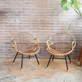 vintage rotan stoel metaal
