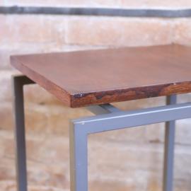 Vintage bijzettafel metaal hout