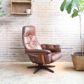 Vintage draaifauteuil bruin