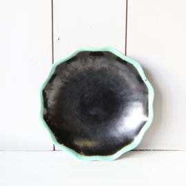 Vintage schaal zwart blauw