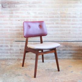 Vintage eettafel stoel velvet roze