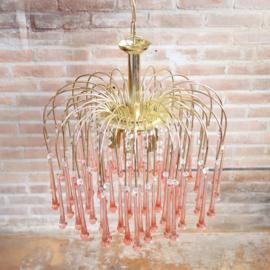 Vintage messing teardrop lamp roze