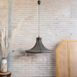 Vintage rotan webbing hanglamp