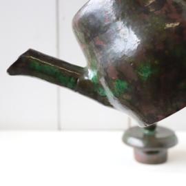 Vintage theepot handgemaakt groen