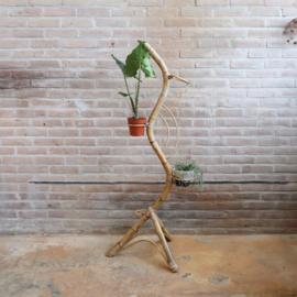 Vintage rotan plantenstandaard