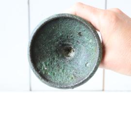 Vintage kandelaar groen keramiek