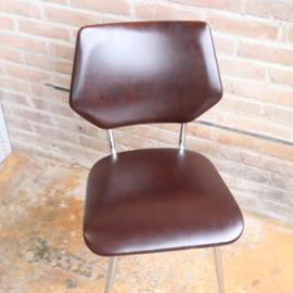 Vintage bruin skai stoeltje