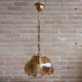Vintage hanglampje klein messing glas