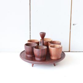 Vintage eierdopjes hout set