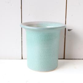 Vintage bloempot / vaas turquoise