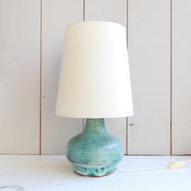 Vintage tafellamp turquoise keramiek