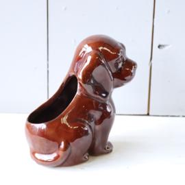Vintage bloempot hond bruin