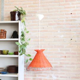 Vintage rotan hanglamp oranje