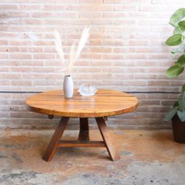 Jaren 70 salontafel rond robuust vintage