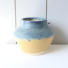 Vintage vaas blauw geel